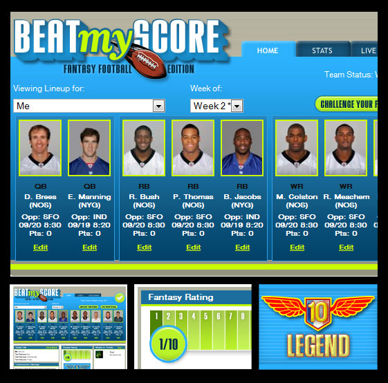 Beat My Score : Facebook fantasy football