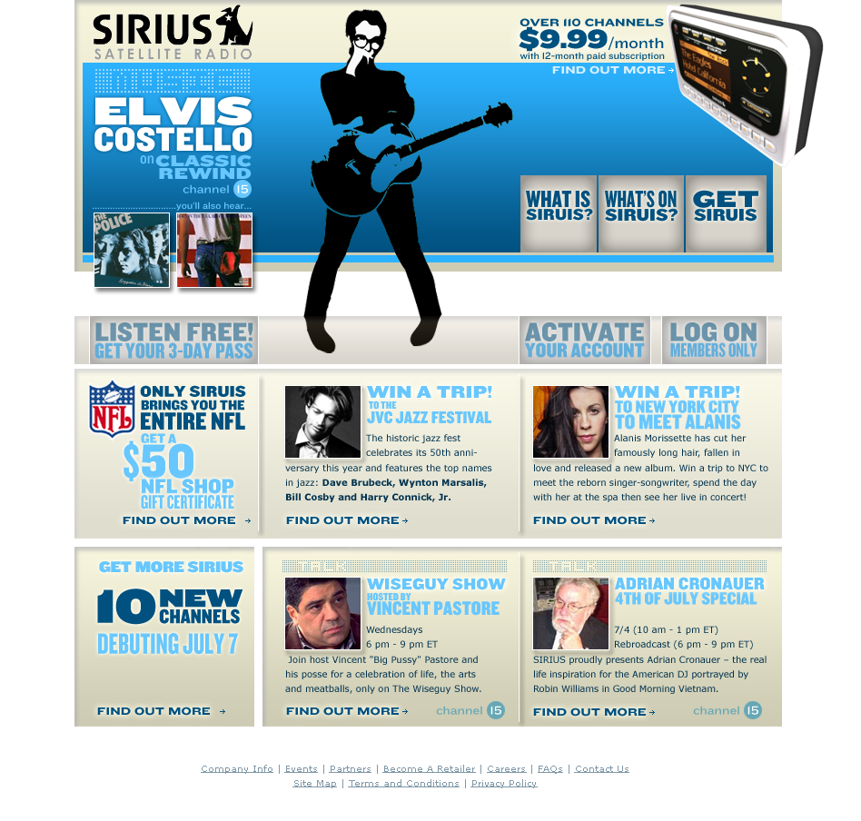 Web design for Sirius radio