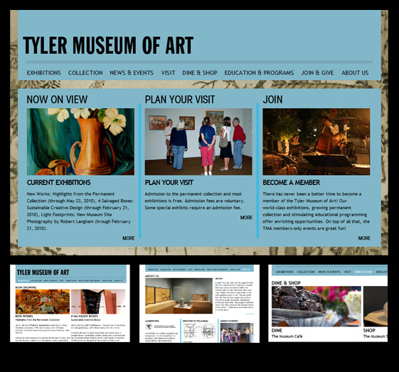 Tyler Museum of Art website design and development