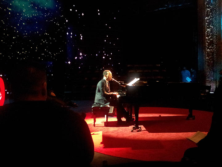 John Legend rehearsing onstage at Brooklyn's BAM Harvey Theater