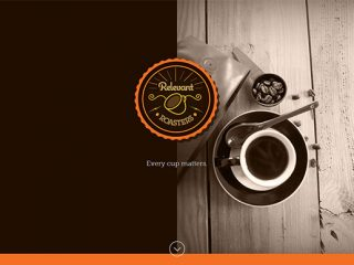 Relevant Roasters logo, website, packaging