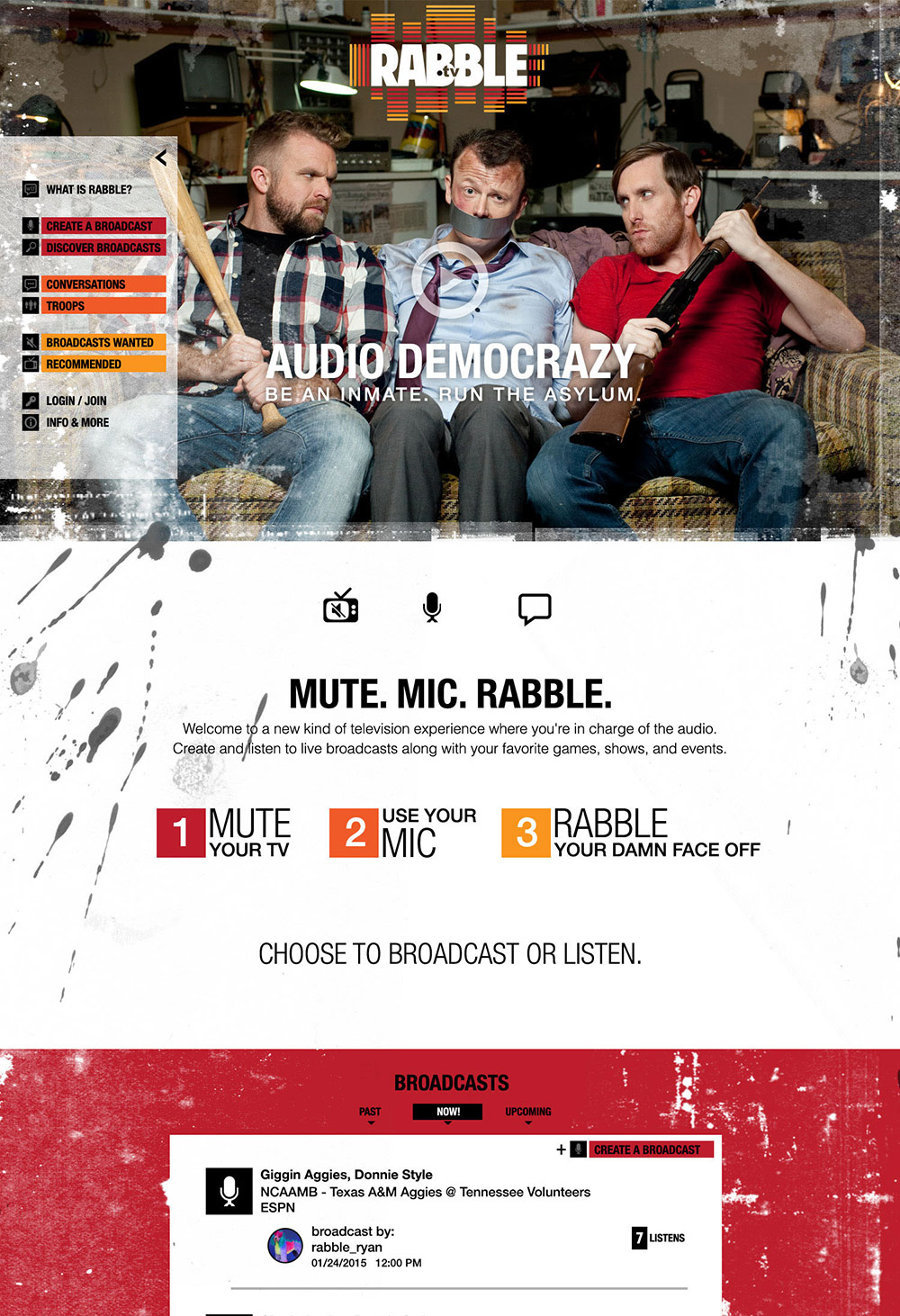 Web design for Rabble.tv