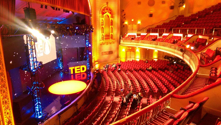 TED Talks Live on Broadway : set up at Town Hall