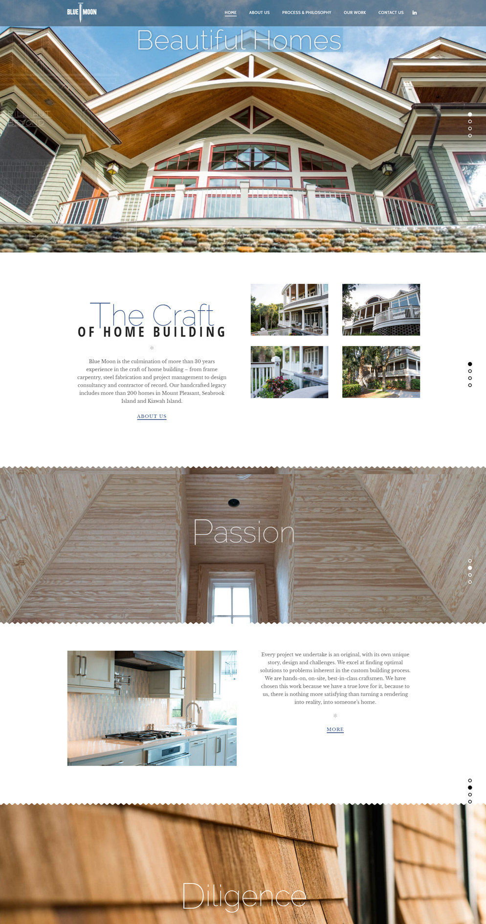 Fully responsive WordPress website for luxury artisans Blue Moon Home Builders
