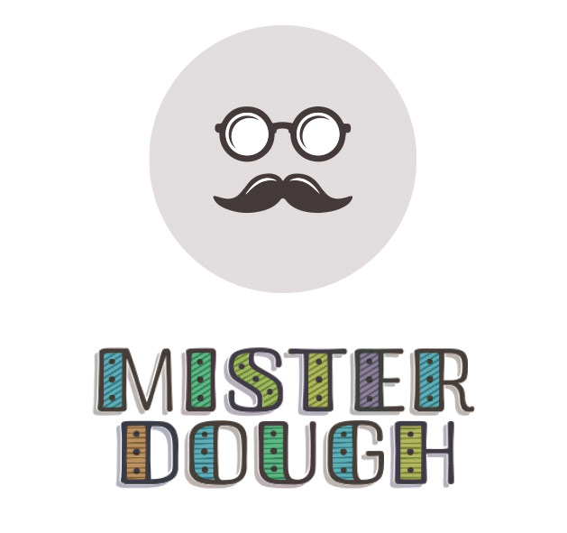 Branding design process for Mister Dough, donut shop