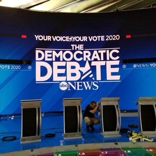 Main screen before podium screens were installed