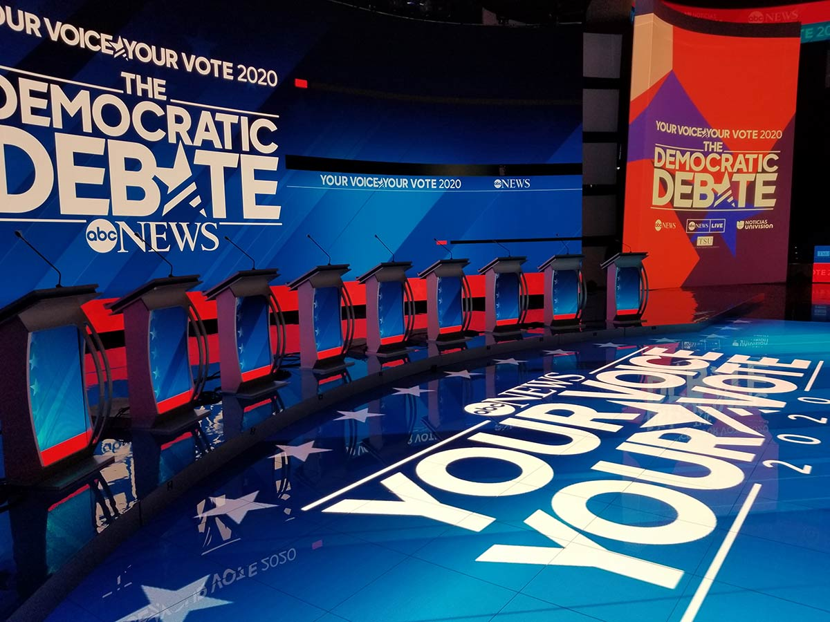 ABC News Democratic debate : screen design by K Brandon Bell