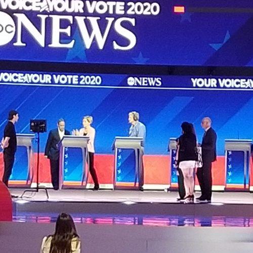 Senator Elizabeth Warren on her walk-through, the afternoon of the debate