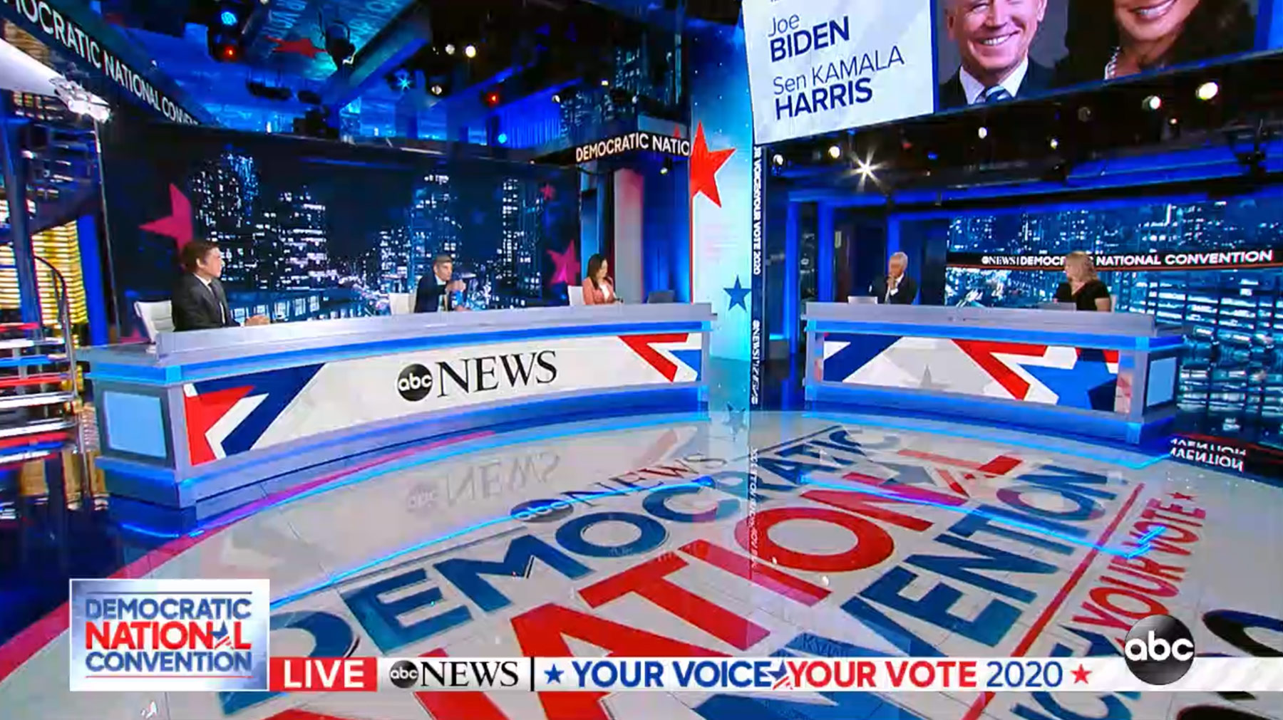 Set screen design for coverage of the Democratic National Convention, ABC News
