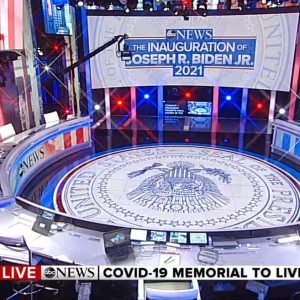 coverage of Joe Biden & Kamala Harris Inauguration 2021 - set screen design by K brandon Bell