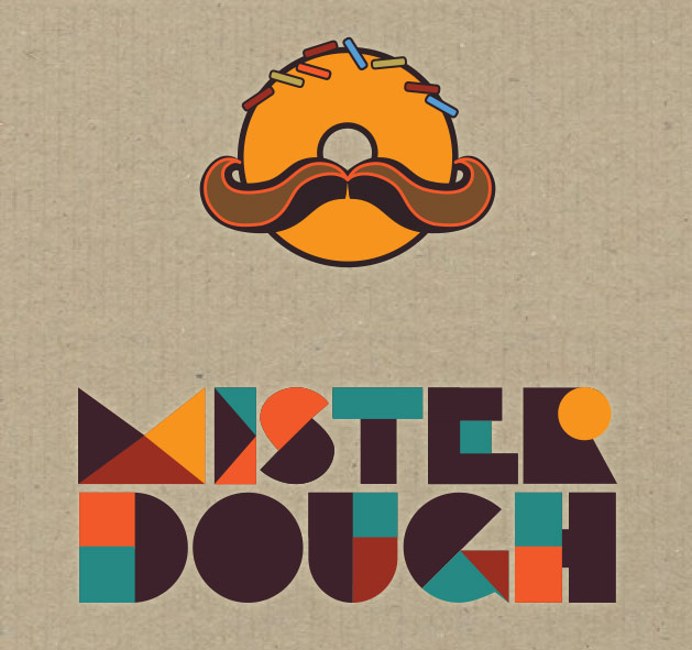 Branding design process for Mister Dough, donut shop