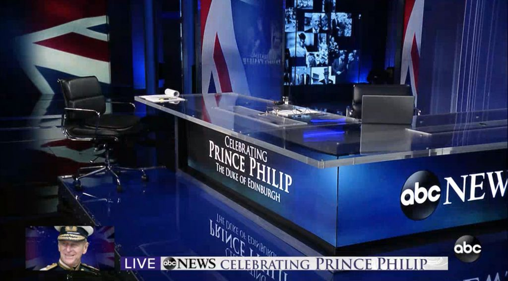 ABC News: Celebrating Prince Philip- set screen design by K Brandon Bell