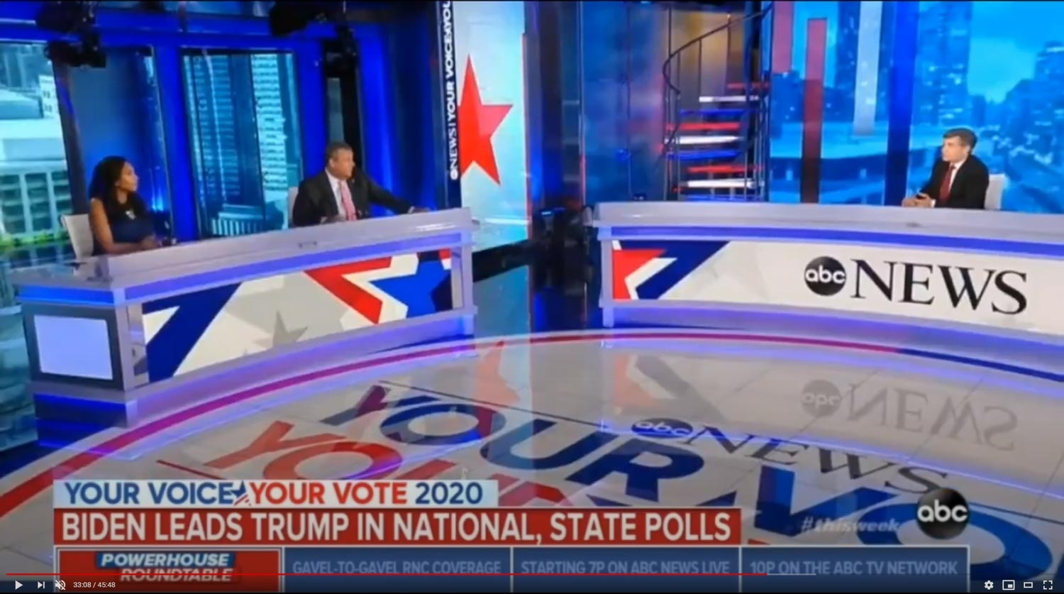 Set screen design for This Week with George Stephanopoulos, August 23, 2020