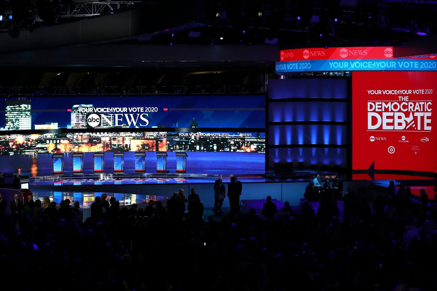 ABC News Democratic Debate, New Hampshire : screen design by K Brandon Bell