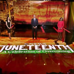 Screen design for Juneteenth live news special on ABC