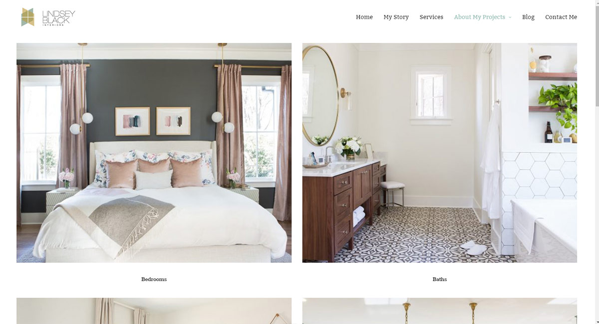 Lindsey Black Interiors : WordPress design & development by K Brandon Bell (most photos by Selavie Photography)