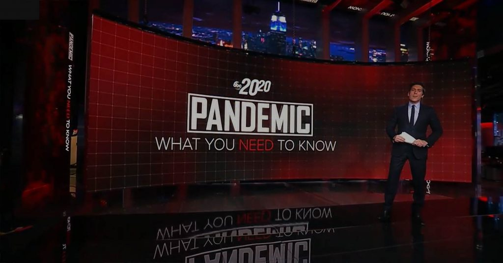 """20/20 - Pandemic: What You Need To Know"" ABC News - screen design by K Brandon Bell"